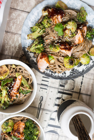 Hoisin Glazed Salmon, Tofu or Chicken & Veggies over Soba Noodles