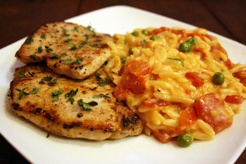 Rosemary & Thyme Marinated Pork Loin Medallions  (or Chicken Breast) and a Creamy Tomato Parmesan Orzo