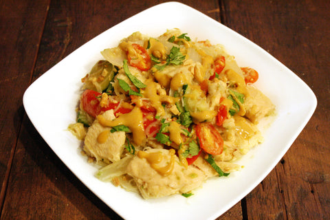 Singapore Chicken, Shrimp, or Tofu Sauté w/ Peanut Sauce & Veggies over MaiFun Noodles