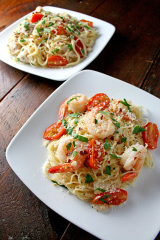 Chicken or Shrimp Scampi and Cherry Tomatoes over Angel Hair