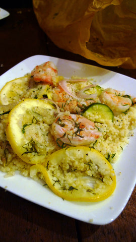 FALSE Zesty Shrimp, Zucchini & Cous Cous en Papillote