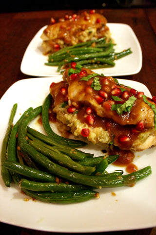 Apple, Bacon & Cornbread Stuffed Chicken Breast w/ Cider, Sage & Pomegranate Gravy and Garlic Green Beans