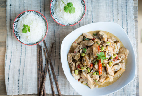 Thai Green Curry (Chicken, Shrimp or Tofu) w/ Mushrooms, Red Peppers, Onions, Bamboo Shoots & Edamame over Rice