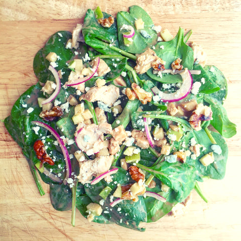 """The Billie"" Spinach Salad w/ Grilled Chicken, Blue Cheese, Walnuts, Apple and a Balsamic Vinaigrette"