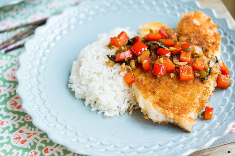 Thai Crusted Tilapia (or Chicken) with a Spicy Basil Red Pepper Sauce and Jasmine Rice