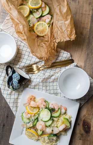 Shrimp (or Chicken), Zucchini & Cous Cous en Papillote