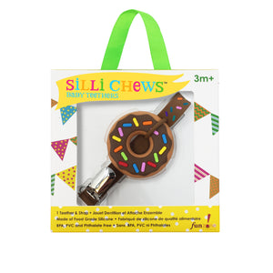 MINI CHOCOLATE DONUT TEETHER AND STRAP