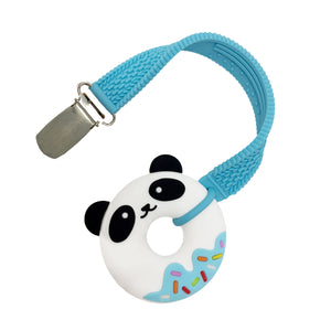 MINI BLUE PANDA DONUT TEETHER AND STRAP