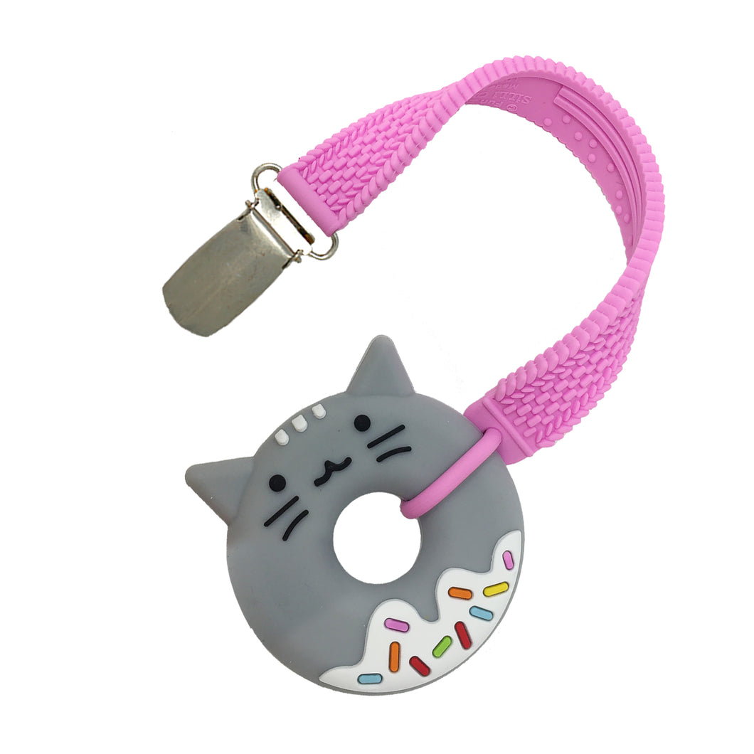 MINI CAT DONUT TEETHER AND STRAP