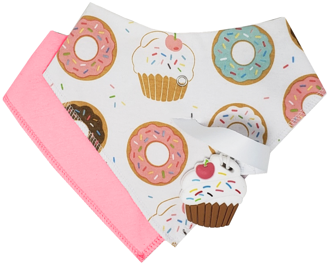 SILLI SWEETS BANDANA BIB SET WITH CUPCAKE TEETHER & STRAP