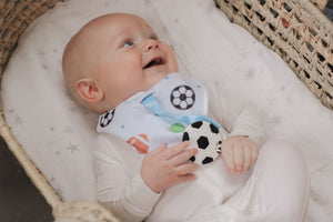 SILLI SPORTS BANDANA BIB SET WITH SOCCER BALL TEETHER & STRAP