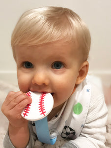 SILLI SPORTS BANDANA BIB SET WITH BASEBALL TEETHER & STRAP