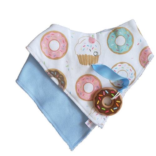 SILLI SWEETS BANDANA BIB SET WITH DONUT TEETHER & STRAP