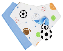 Load image into Gallery viewer, SILLI SPORTS BANDANA BIB SET WITH SOCCER BALL TEETHER & STRAP