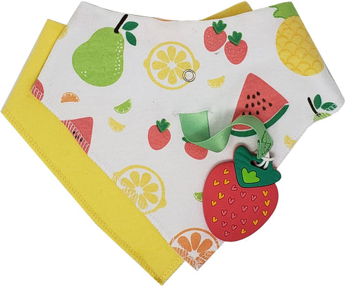 SILLI FRUITS BANDANA BIB SET WITH STRAWBERRY TEETHER & STRAP