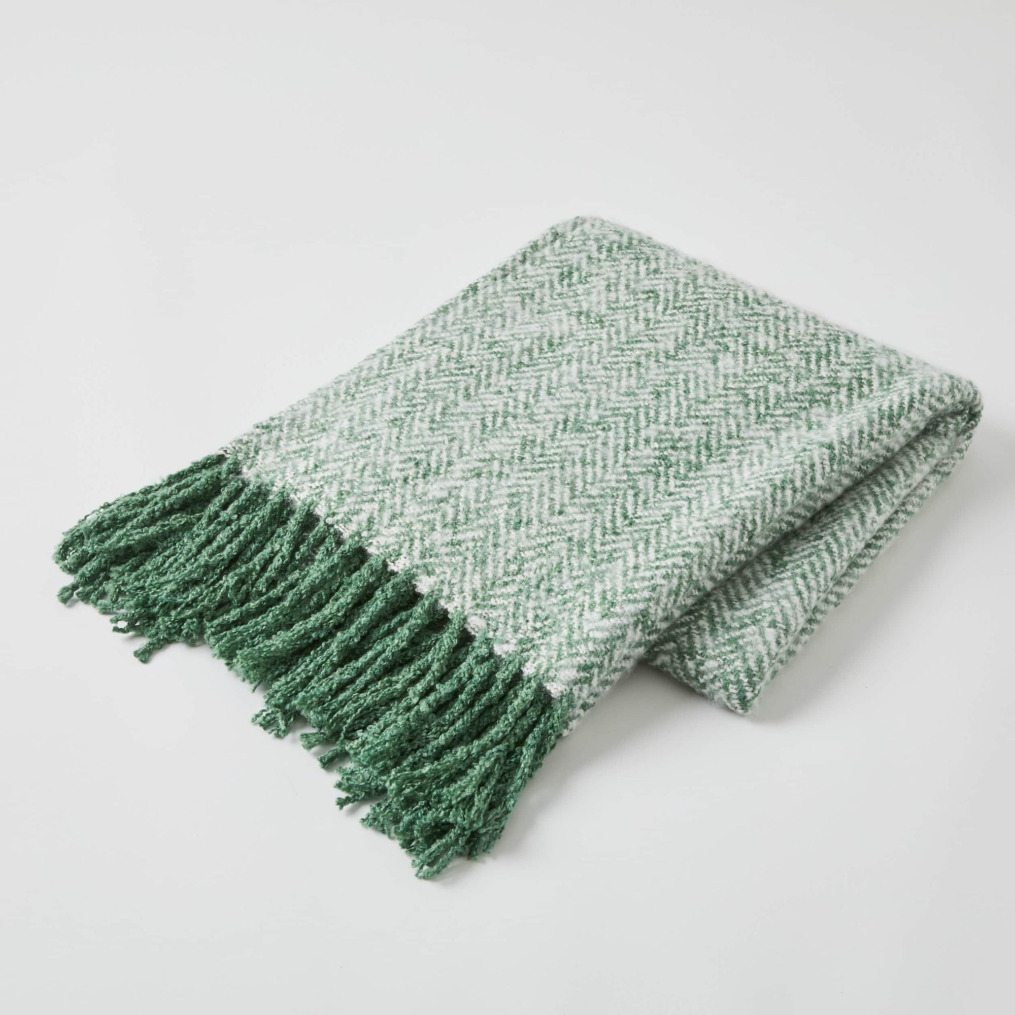 Herringbone throw rug forest green