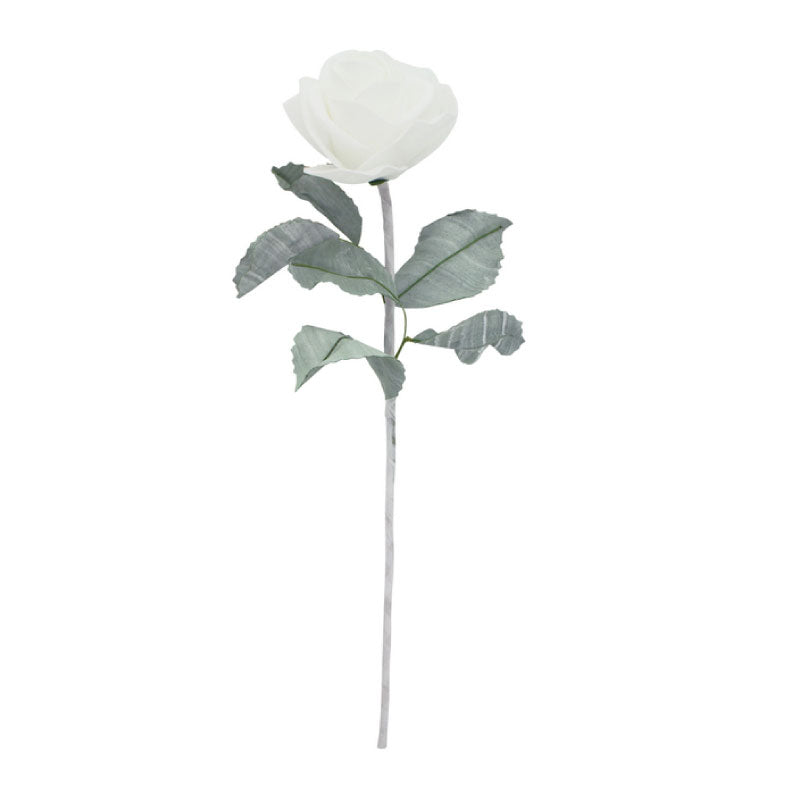 Artificial Leafy White Rose