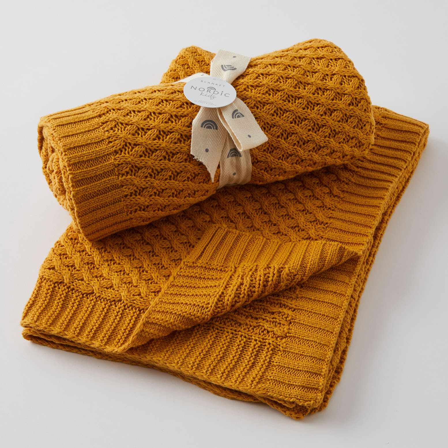Mustard Basket Weave Knit Blanket
