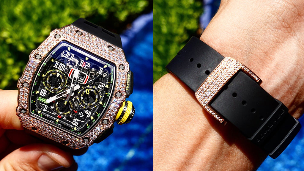 richard mille customised by cagau in dubai diamond setting