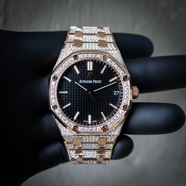 Audemars Piguet 15500 - Royal Oak 41 - 18ct Pink Gold - Custom Diamond Set