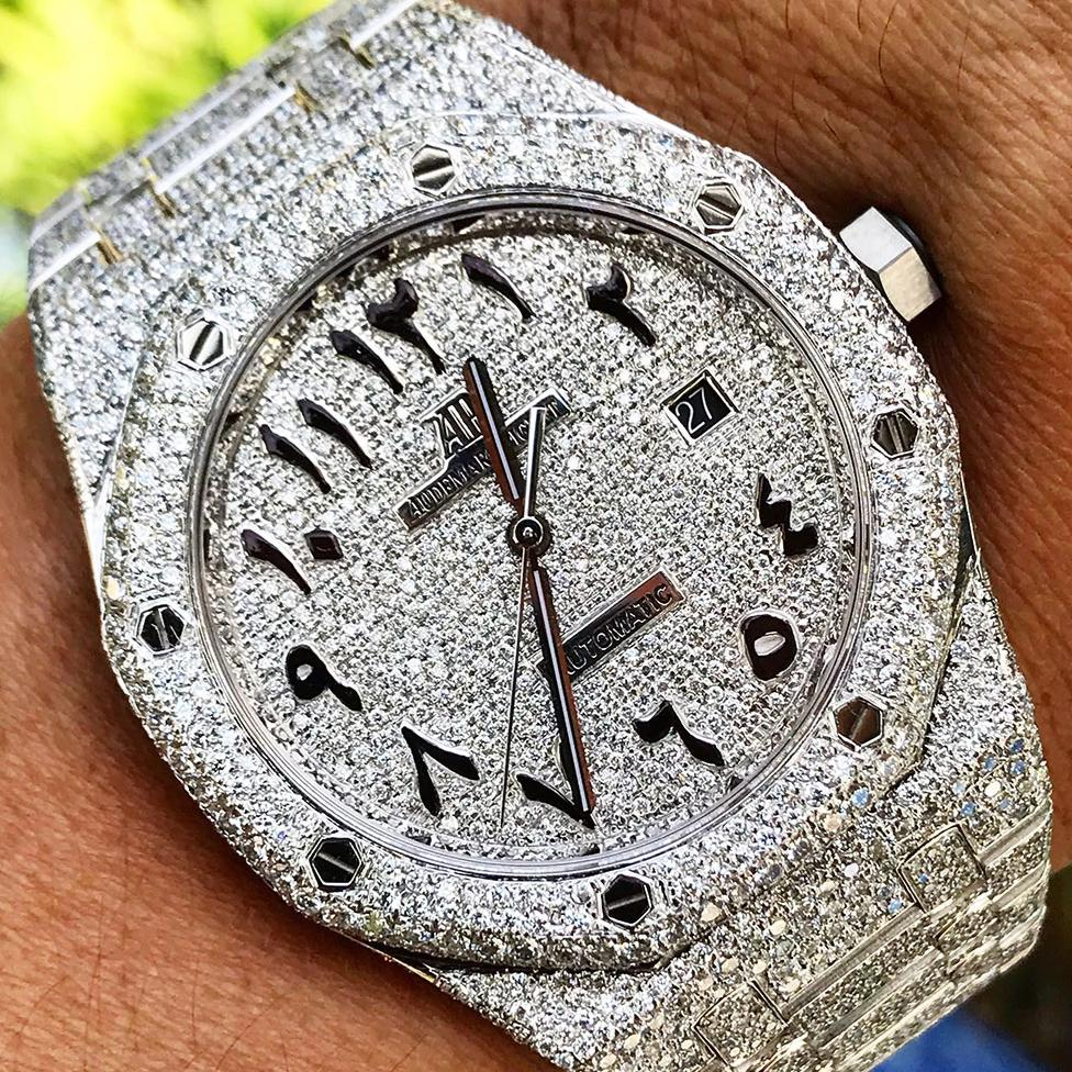 Audemars Piguet Royal Oak 41 Steel Custom Pavé Diamond Set Arab Cagau