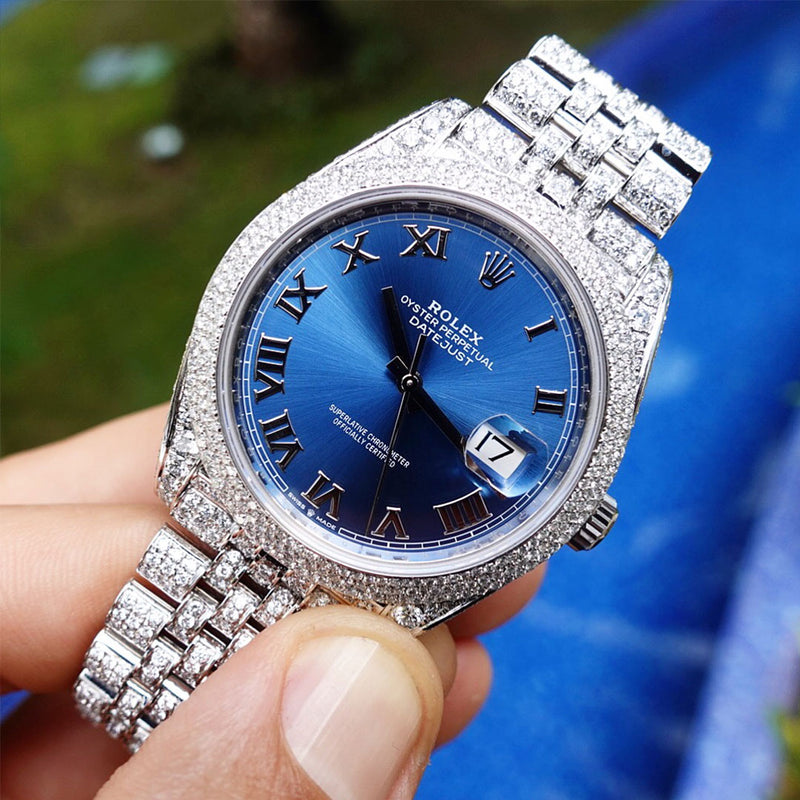 Custom Rolex Datejust 41 - Azzuro - Full Diamond Jubilee