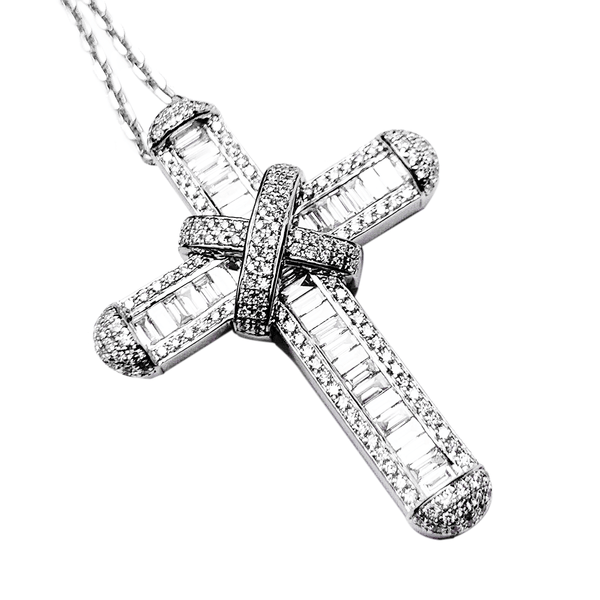 18K White Gold Cross Pendant & Chain  - 2.9ct Baguette & Round-Cut Diamonds - 1.75 inch