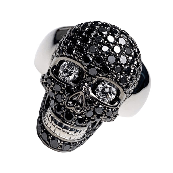 18K White Gold Skull Ring - 3.5ct Black Diamond