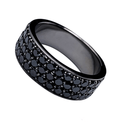 18K White Gold Eternity Ring - 4.3ct Black Diamonds