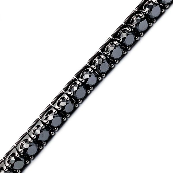 18K White Gold Tennis Bracelet - 15.5ct Black Diamond - 7.5 Inch 4.7mm