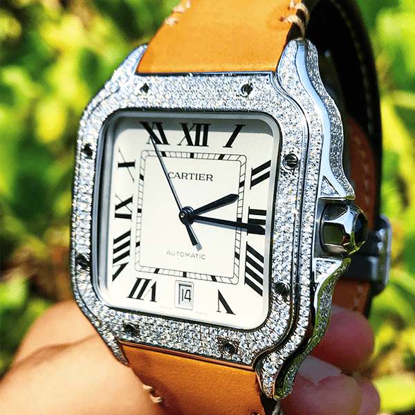 Cartier Santos - Tan Calfskin & Steel  - Custom Diamond Set