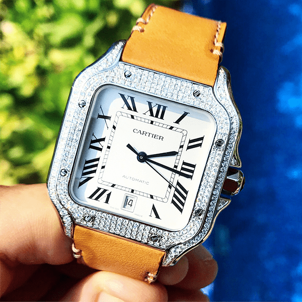 Custom Cartier Santos Date - Diamond