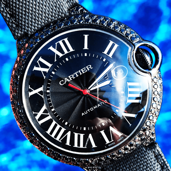 Custom Cartier Ballon Bleu - Carbon Black Diamond