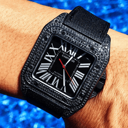 Custom Cartier Santos 100 - Carbon Black Diamond