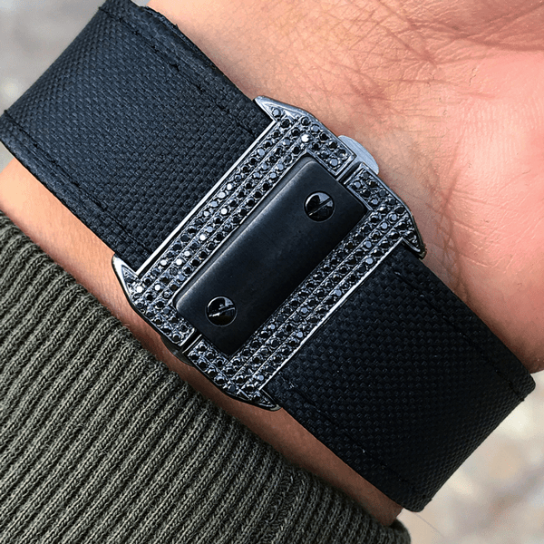 "Cartier Santos 100L  ""Carbon"" - Calfskin - Custom Black-Diamond Set"