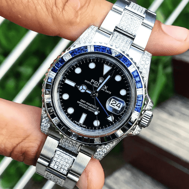 "Rolex GMT-Master II - Oystersteel ""Batman""- Oyster - Custom Diamond Set (Centre Links)"