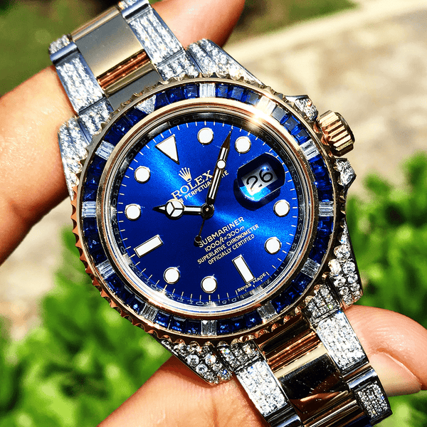 Custom Rolex Submariner - Bi-Metal Blue - Diamond Outer Links