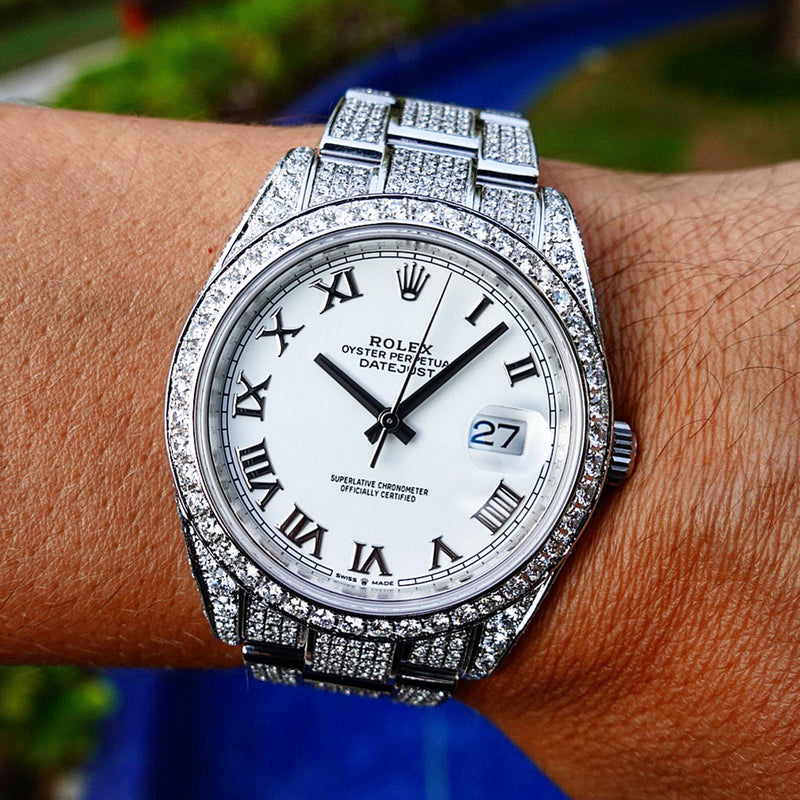 Rolex Datejust 41 - Oyster White Roman - Full Diamond