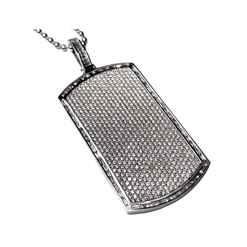 18K White Gold Dog Tag Pendant & Chain  - 4ct Baguette & Round-Cut Diamonds - 1.75 inch