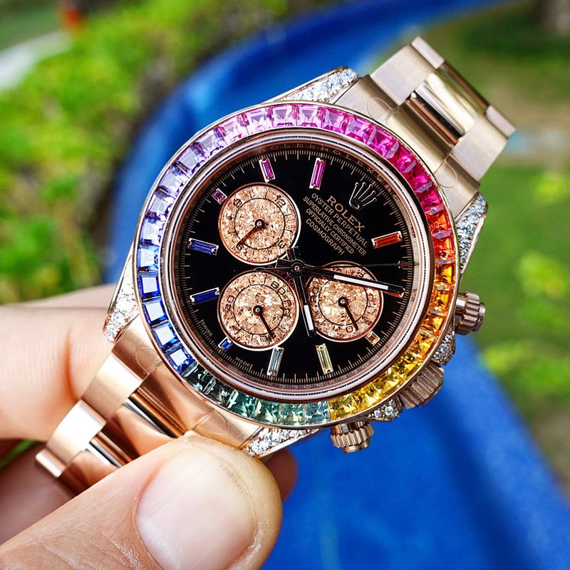 Custom Rolex Daytona Rainbow - Rose Gold