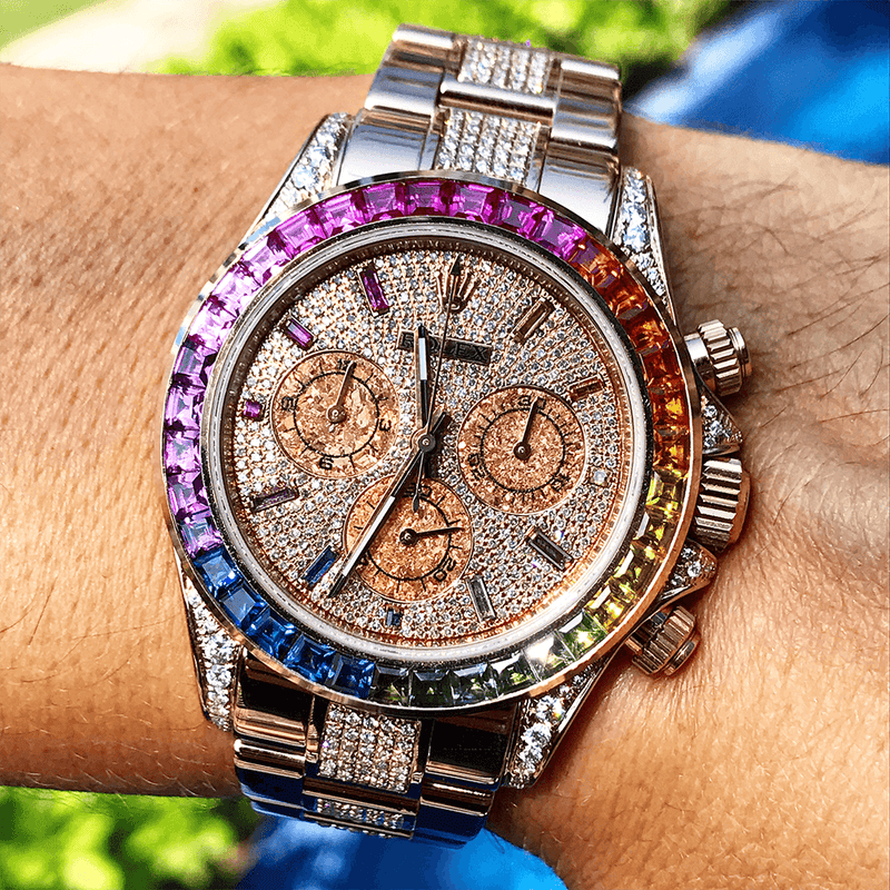 Custom Rolex Rainbow Daytona - Rose Gold - Full Diamond