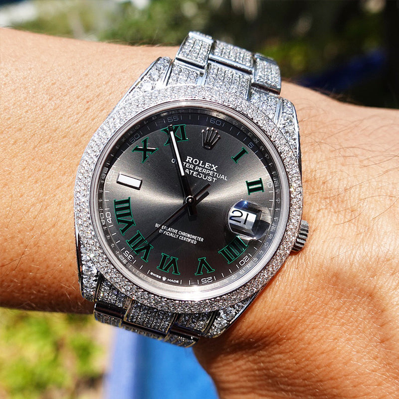 Custom Rolex Datejust 41 - Wimbledon Steel Oyster - Full Diamond Honeycomb Bezel