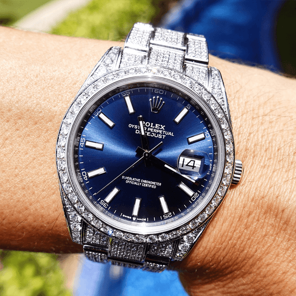 Custom Rolex Datejust 41 - Oyster Blue - Full Diamond