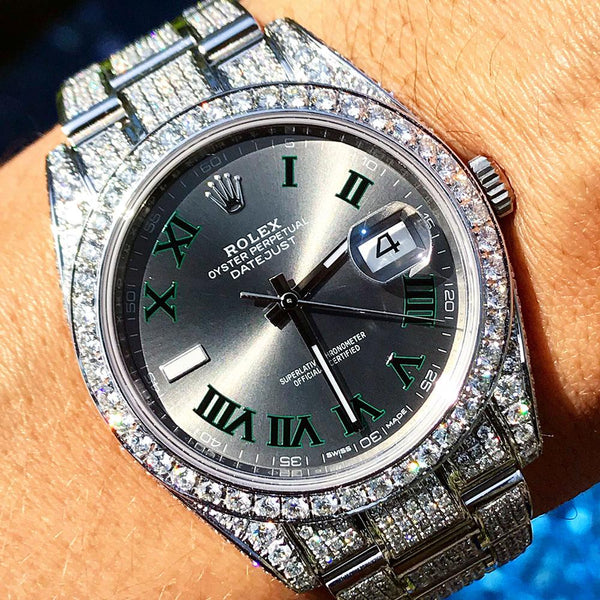 Custom Rolex Datejust 41 - Wimbledon - Full Diamond
