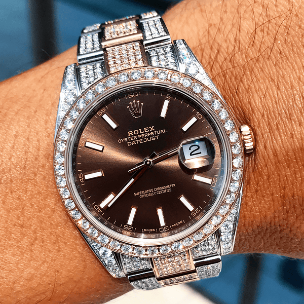 Custom Rolex Datejust 41 - Chocolate - Full Diamond
