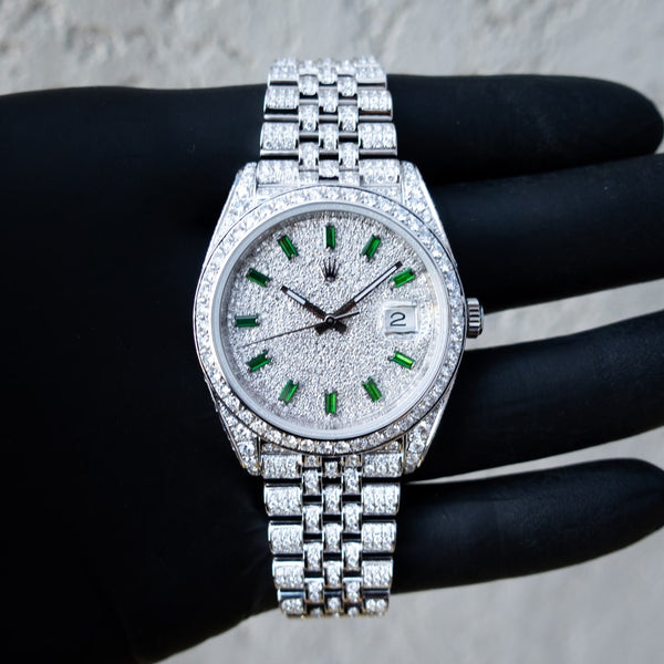 Rolex Datejust 41 - Oystersteel - Jubilee - Custom Diamond Set - Covert Dial with Green Markers