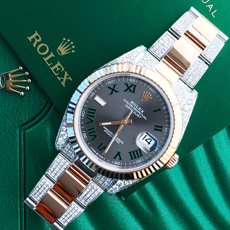 Custom Rolex Datejust 41 - Wimbledon - Steel & Rose Gold - Diamond Outer Links