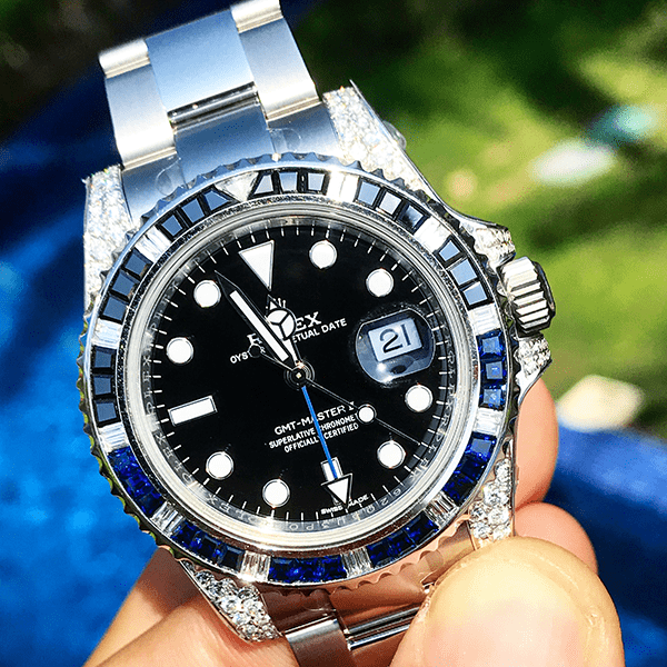 "Rolex GMT-Master II - Oystersteel ""Batman""- Oyster - Custom Diamond Set (Shoulders)"