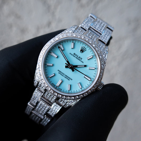 Rolex Oyster Perpetual 31 - Turquoise Blue Dial - Oystersteel -  Custom Diamond Set