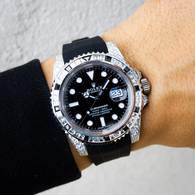 Rolex Submariner Date - Oystersteel - Oyster - Tuxedo Bezel - Custom Diamond Set - Horus Black
